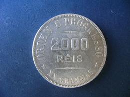 """BRAZIL / BRASIL - COIN """"2000 REIS"""", SILVER / PRATA , 1908 - Brazilië"""