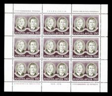 Yugoslavia 1978 Revolutionaries Sheet MUH - 1945-1992 Socialist Federal Republic Of Yugoslavia