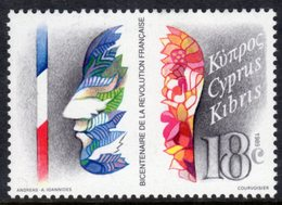 CYPRUS - 1989 FRENCH REVOLUTION ANNIVERSARY 18c STAMP FINE MNH ** SG 744 - Unused Stamps