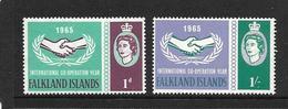 FALKLAND 1965 ANNEE DE LA COOPERATION INTERNATIONALE  YVERT N°150/51 NEUF MNH** - Falkland