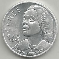 Coretta Scott King, FAO Roma, Cerere, Nutrire Gli Affamati, Mistura Gr. 3, Cm. 2,8. - Italia