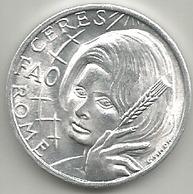 Sofia Loren, 20 Anni Della Fao In Italia, Roma, Cerere, Mistura Gr. 3, Cm. 2,8. - Italia