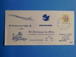 CONCORDE 3 VOL ENTRAINEMENT DES PILOTES LIBAN 1976 FDC - Concorde
