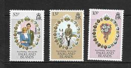 FALKLAND 1981 MARIAGE CHARLES ET DIANA YVERT N°324/26 NEUF MNH** - Falkland