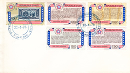FDC / BICENTENAIRE DE L'INDEPENDANCE DES ETATS-UNIS / 22.04.1976 / TP N° 750 + PA N° 543/546 PORT AU PRINCE HAÏTI - Haiti