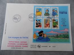 Premier Jour (FDC) Grand Format France 2007 : Les Voyages De TINTIN (bloc Feuillet) - FDC