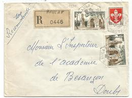 N°1130X2+1186 LETTRE REC C. HEX PERLE BAULAY HAUTE SAONE 1959 - Postmark Collection (Covers)