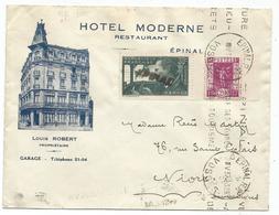MERMOZ 30C OBL GRIFFE NIORT + N° 322 LETTRE ENTETE HOTEL MODERNE EPINAL VOSGES 1937 POUR NIORT - Postmark Collection (Covers)