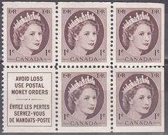 CANADA    SCOTT NO. 337A      MNH  BOOKLET PANE     YEAR  1954 - 1952-.... Elizabeth II