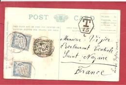Y&T N° TX28X2+31  SUR CP ROYAUME UNI   Vers FRANCE 2 SCANS   1906 - Lettres Taxées