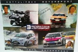 Kottulinsky   Motorsport  3 Generations T Signed Large Size Card - Authographs