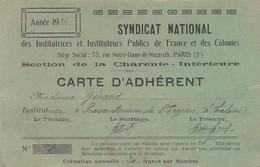 1926 CARTE MEMBRE SYNDICAT NATIONAL INSTITUTRICES ET INSITUTEURS PUBLICS FRANCE ET COLONIES - Vieux Papiers