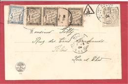 Y&T N° TX10X3+28 (BANDE DE 3 MILLÉSIME) Sur CP RIENS     Vers BLOIS  1904 2 SCANS - Postage Due Covers