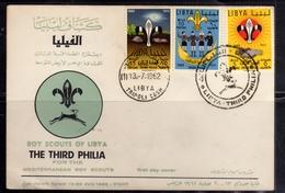 LIBYA LIBIA UNITED KINGDOM REGNO UNITO 1962 RADUNAMENTO BOY-SCOUTS SCOUT SCOUTISMO SCOUTISM SERIE COMPLETA SET FDC - Libië