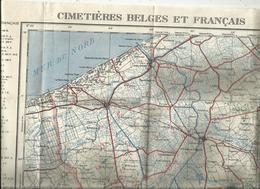 Kaart Der Belgische En Fransche Militaire Kerkhoven (1914-1918) Carte Des Cimetières Miliraires Belges Et Français YSER - 1914-18