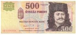 UNGHERIA - 500 FIORINI - QUALITA'  SPL - ANNO 2002 - Ungheria