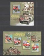 RR783 2014 CENTRAL AFRICA FIRE TRUCKS LES CAMIONS DE POMPIERS KB+BL MNH - Camions