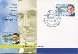 ITALIA - FDC MAXIMUM CARD 2003 - PIONIERI AVIAZIONE ITALIANA - MARIO CALDERARA - ANNULLO SPECIALE - Cartoline Maximum