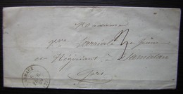 Carmaux 1859, Lettre Sans Timbre Pour Samatan (Gers) - 1849-1876: Classic Period