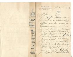 """Lettre 1903 / SUISSE / SAINT CERGUES SUR NYON / Hôtel """"La Croisette"""" / Signature Barnioux - Switzerland"""