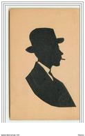 Homme Avec Un Chapeau Et Fumant - Silhouette - Scherenschnitt - Silhouette