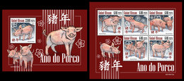 GUINEA BISSAU 2019 - Year Of The Pig. M/S + S/S. Official Issue - Astrology