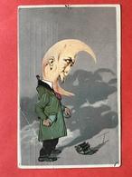 1912 - SURREALISME - LA LUNE HUMANISEE - DE MAN ALS MAAN - LEGE GELDBEUGEL - GEEN GELD - PAS D'ARGENT - Fancy Cards