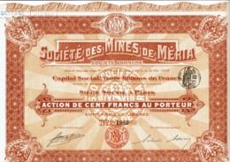 20-MINES DE MERIA. Mines D'Antimoine En CORSE. Action 1908 - Shareholdings