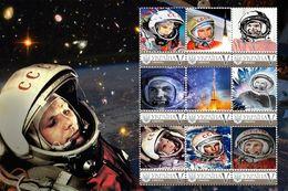 Ukraine 2018, Space, Y. Gagarin, Sheetlet Of 9v - Ukraine