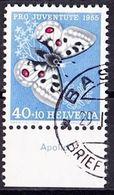 """Schweiz Suisse  Pro Juventute 1955: Zu 162 Mi 622 Yv 571 O BASEL 29.I.56 + TAB Deutsch""""""""Apollo"""" (SBK CHF 21.00) - Papillons"""