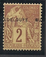 Guadeloupe - 1891 - N°Yv. 15 - 2c Brun - VARIETE Surcharge à Cheval - Neuf Luxe ** / MNH / Postfrisch - Guadeloupe (1884-1947)