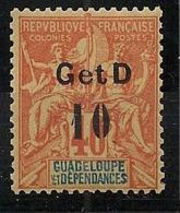 Guadeloupe - 1903 - N°Yv. 46a - 10c Sur 40c Orange - Type IV - VARIETE Surch 9,5mm - Neuf * / MH VF - Nuevos