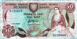 Billet De 50 Cents Chypre 1980 En B - Zypern