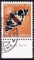 """Schweiz Suisse  Pro Juventute 1955: Zu 161 Mi 621 Yv 570 O SIHLBRUGG ?.55 (ZÜRICH) + TAB """"Arctia Flavia"""" (SBK CHF 19.00) - Papillons"""