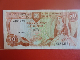 CHYPRE 50 SENT 1987 CIRCULER BELLE QUALITE - Cyprus