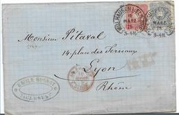 EL140 / ELSASS -  Mühlhausen Bahnhof 1875, Hufeisenstempel Auf Pfennige Nach Lyon - Allemagne