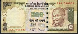 INDIA P99f1 500 RUPEES 2010 #9KS NO LETTER   Sign.20  VF - India