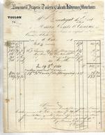 Facture 1841/ 83 TOULON Rue Lafayette Vis à Vis Le Collège  / COMBE & CREVOISIER / Rouennerie, Draperie, Toilerie - France