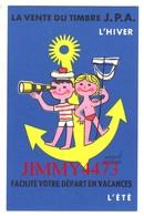 CPSM - LA VENTE DU TIMBRE J.P.A. L'Hiver Facilite Votre Départ En Vacances L'été - JEUNESSE AU PLAIN AIR - Edit. Delrieu - Collector Fairs & Bourses