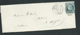 Lac , Lettre Affranchie Par Yvert N°60  Oblitéré Gc 1517 , La Flèche , Sept1871 ( 1er Mois  Changement Tarif    Bpho2105 - Postmark Collection (Covers)