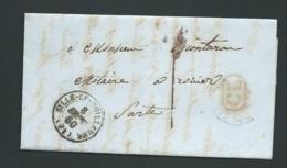 Lac ,lettre  Cad Sillé Le Guillaume  Pour Rouez , Port Local 1 Decime , Cachet Rural Rouge CL ,   SEPT 1850  Bpho2108 - 1849-1876: Klassik