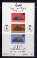 LIBIA LIBYA 1964 CHILDREN'S DAY SOUVENIR BLOCK SHEET GIORNATA DELL'INFANZIA BLOCCO FOGLIETTO BLOC FEUILLET MNH - Libië