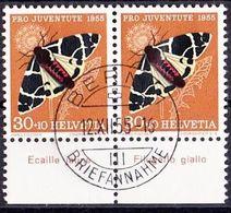 Schweiz Suisse  Pro Juventute 1955: Zu 161 Mi 621 Yv 570 O BERN 12.XII.55 TAB Ecaille & Filugello Giallo (SBK CHF 38.00) - Papillons