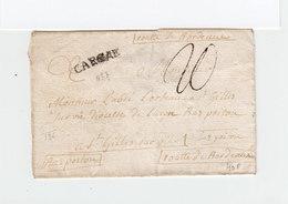 Sur Partie De Lettre Marque Linéaire Carcae Carcassonne. Taxe Manuscrite 20. Vers St Gilles Sur Vie. (2278x) - Postmark Collection (Covers)