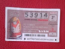 SPAIN ESPAGNE DÉCIMO DE LOTERÍA NACIONAL NATIONAL LOTTERY CARRERAS DE CABALLOS CABALLO HORSE RACE COURSE DE CHEVAUX VER - Billetes De Lotería