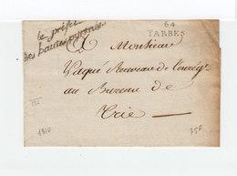 Sur Partie De Lettre De Hautes Pyrénées Marque 64 Tarbes. En Cursives Le Préfet Des Hautes Pyrénées. (2281x) - 1801-1848: Précurseurs XIX
