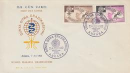 Enveloppe  FDC   1er  Jour   TURQUIE   Eradication  Du  Paludisme  Malaria   1962 - Disease