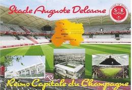 Stade De Football - Stade Auguste Delaune - REIMS - Capitale Du Champagne - 4 Vues + Carte Géo - Cpm - Vierge - - Soccer