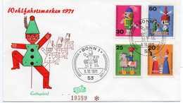 - FDC BONN (Allemagne) 5.10.1971 - MARIONNETTES - - Marionnettes