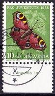 "Schweiz Suisse  Pro Juventute 1955: Zu 159 Mi 619 Yv 568 O AROSA 2.I.56 + TAB Latinum ""Inachis Io"" (SBK CHF 6.00) - Papillons"